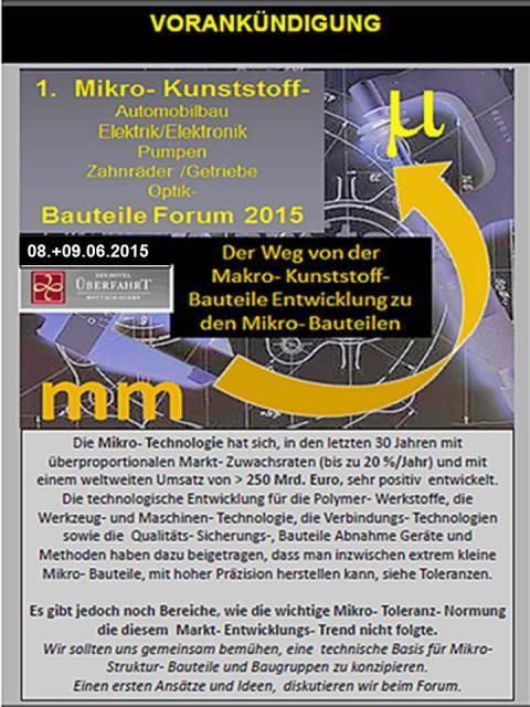 1. Mikro-Kunstoffe-Bauteile-Forum 2015
